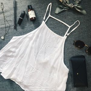 URBAN OUTFITTERS White Crop Top Back Cutout Detail